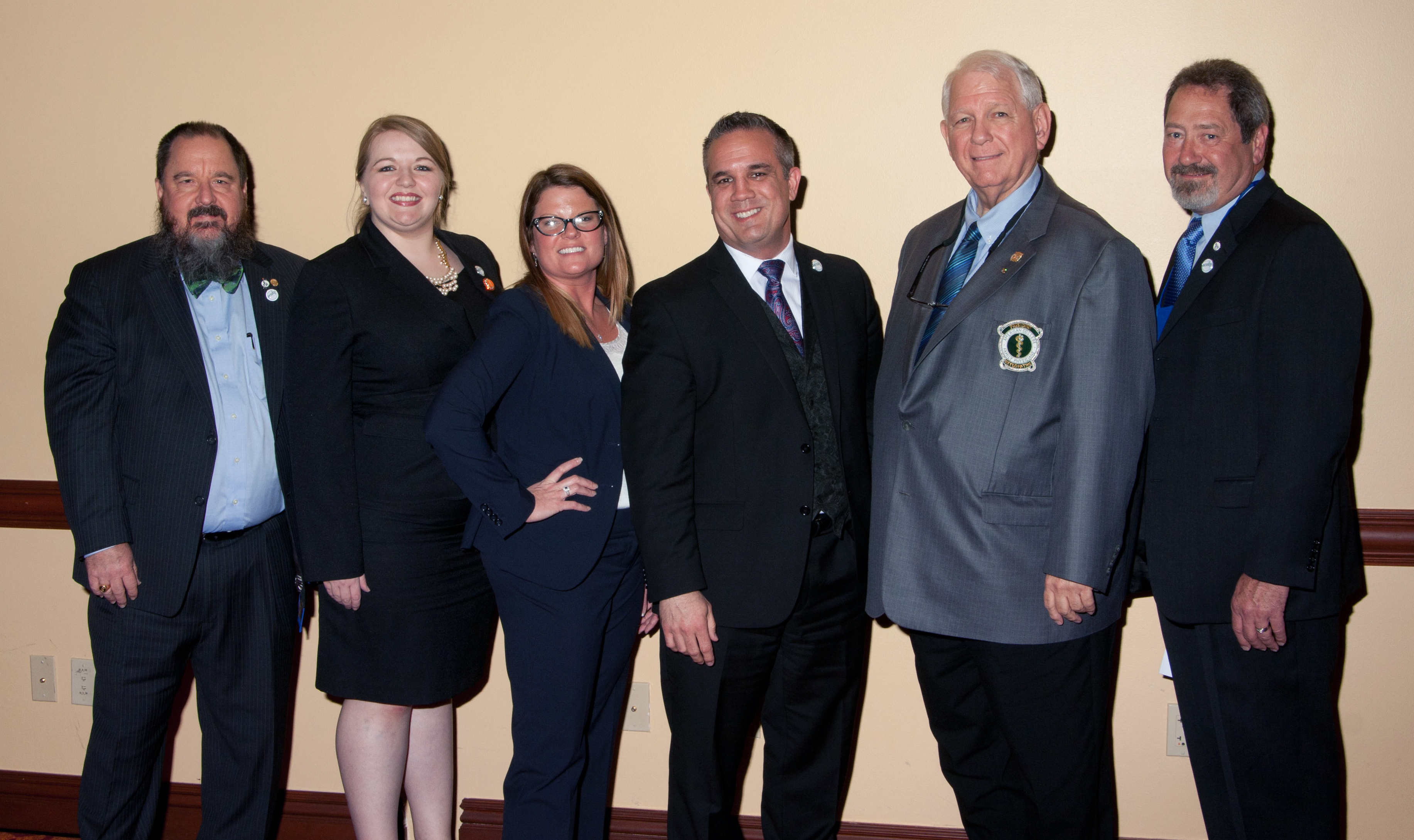 Pictured (L-R) Michael K. Cooper, DO, FACOFP; Rebecca D. Lewis, DO, DO; Monica M. Woodall, DO; John L. Owens, DO; Rodney M. Wiseman, DO, FACOFP dist.; and, Duane G Koehler, DO, FACOFP